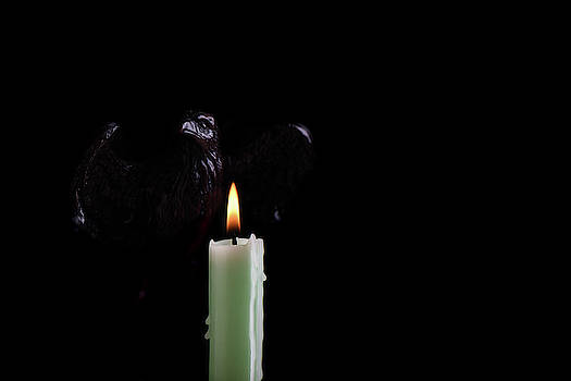 A burning pale green candle illuminates the shape of an eagle, isolated against a black background. by Sergei Dolgov