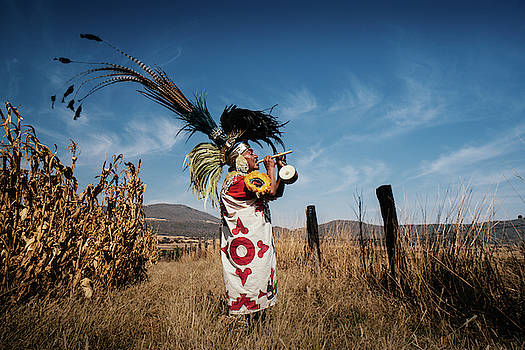 A Chichimeca Musician in the field, Mexico by Kamran Ali