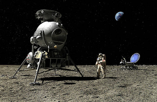 A cosmonaut on the Moon by Nick Stevens