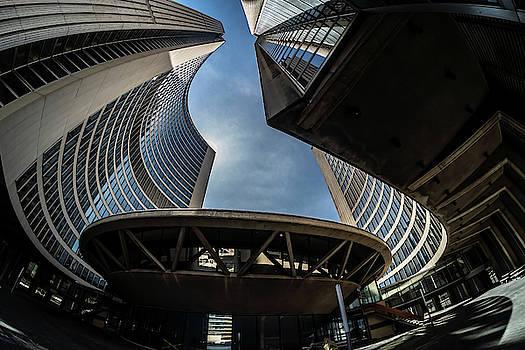 A fisheye view of the Toronto City Hall building by Sven Brogren