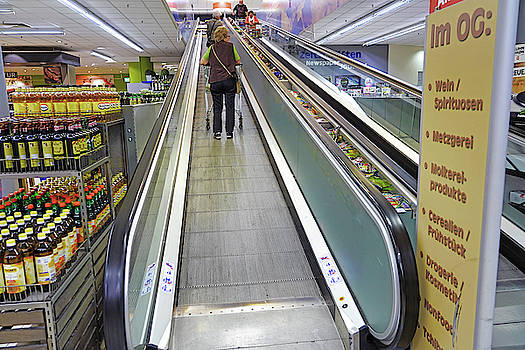 A Grocery Store Escalator For Carts In Germany by Richard Rosenshein