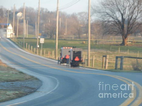 Christine Clark - A Grouping of Buggies on a Country Road