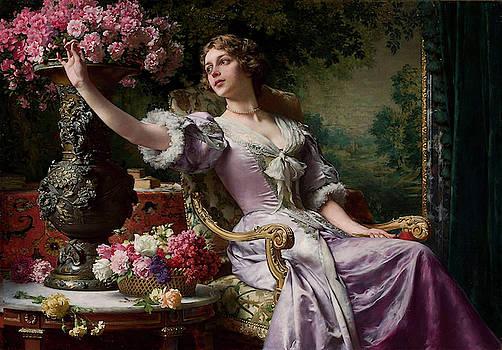 A Lady In A Lilac Dress With Flowers by Wladyslaw Czachorski