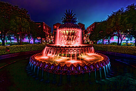 A painterly vision of Charleston's Pineapple Fountain by Sven Brogren