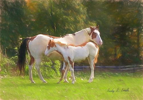 A pinto mare and her foal standing in pasture. by Rusty R Smith