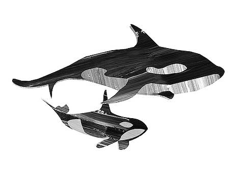 A swim together, black and white by Goed Blauw
