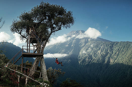 A swing at Casa del Arbol-The treehouse in Ecuador by Kamran Ali