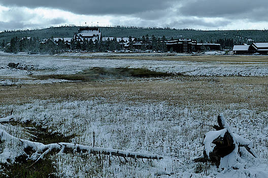 A Winter Landscape at Yellowstone's Old Faithful Inn by Bruce Gourley