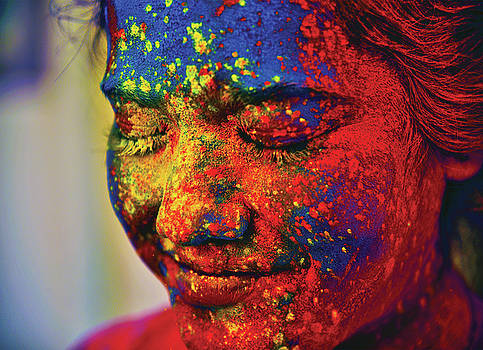 A Young Indian Girl, Her Face Smeared by Anand Purohit