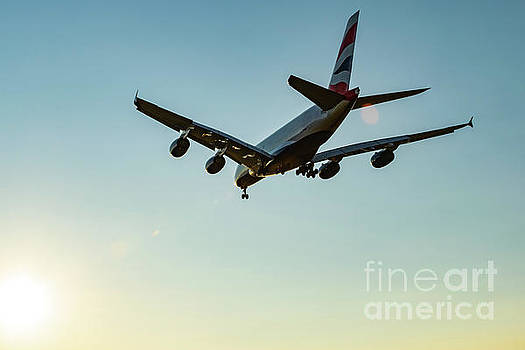 A380 On Final to the YVR Sun by Joe Kunzler