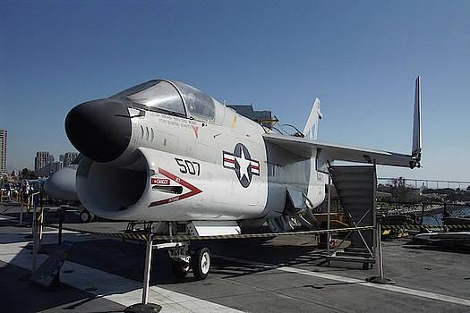A7 Corsair fighter, USS Midway  by Steve Estvanik