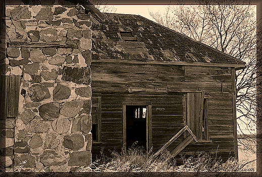 Abandoned Stone Home in Sepia by Images Undefined