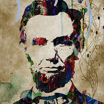 Abe Lincoln Americas Real HERO   48x48 huge prints by Robert R Splashy Art Abstract Paintings