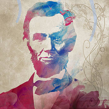 Abraham Lincoln for PRESIDENT WATERCOLOR by Robert R Splashy Art Abstract Paintings
