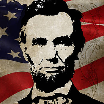 Abraham Lincoln Red White and Blue PRINTS 48x48 by Robert R Splashy Art Abstract Paintings