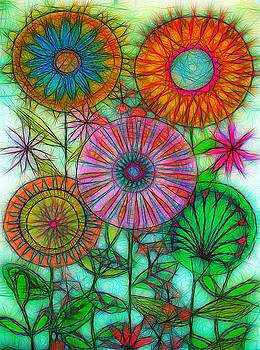 Abstract 50s Mod Flowers  by Mark J Dunn