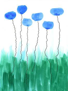 Abstract blue flowers by Steve Clarke