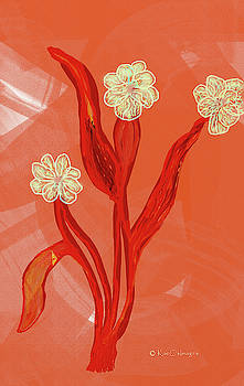Kae Cheatham - Abstract Flowers on Coral Background