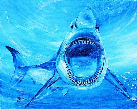 Abstract Great White, in Blue by J Vincent Scarpace