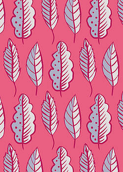 Abstract Leaves In Pink And Violet Decorative Pattern by Boriana Giormova