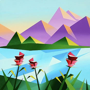 Abstract Sunrise at the Mountain Lake 2 by Mark Webster