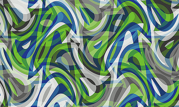 Abstract Waves Painting 007674 by P Shape