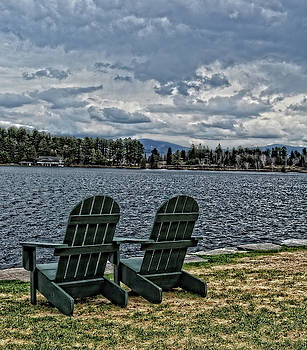 Adirondack Chairs by the Lake by Maggy Marsh