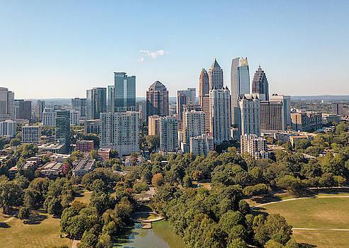 Aerial Image of Atlanta Skyline from Piedmont Park. by Peter Ciro