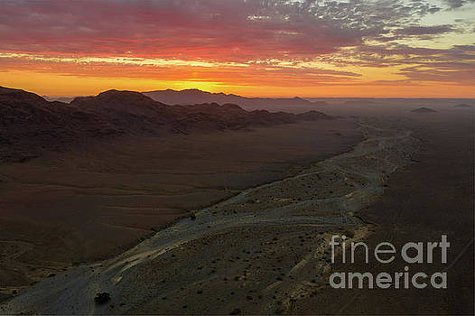 Aerial Namibian Desert Dry Riverbed Sunset by Mike Reid