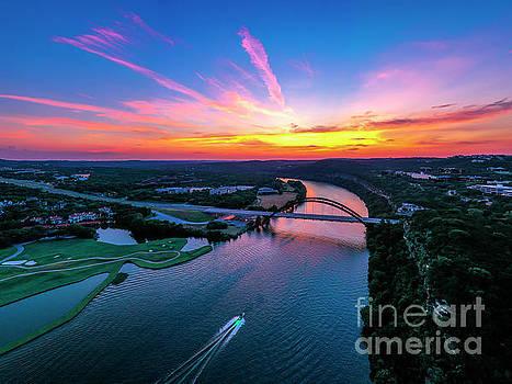 Herronstock Prints - Aerial Panorama Sunset over the 360 Bridge