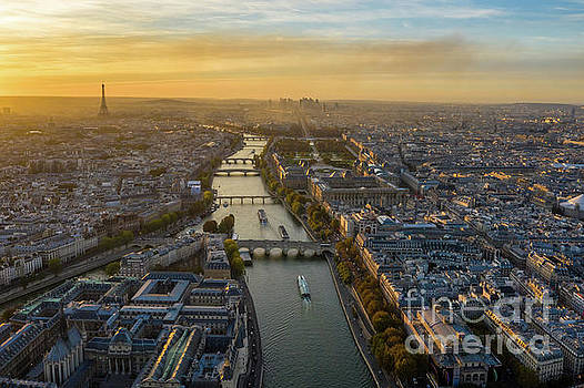 Aerial Paris and the Seine at Dusk by Mike Reid