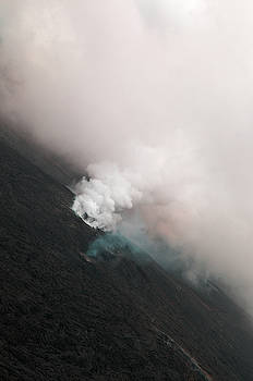 Aerial Photography of Hawaii Smoking Lava Fields by Alina Oswald