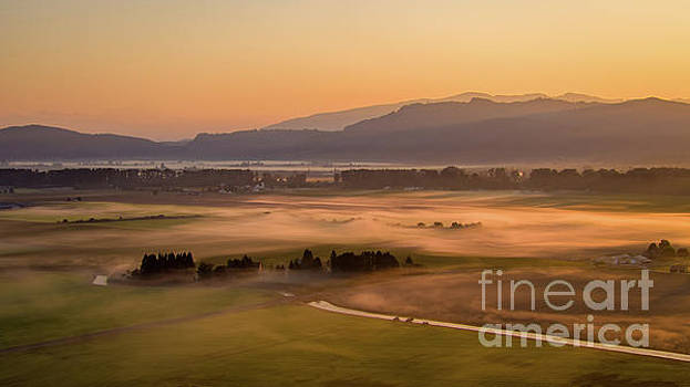 Aerial Skagit Photography Sunrise Fog by Mike Reid
