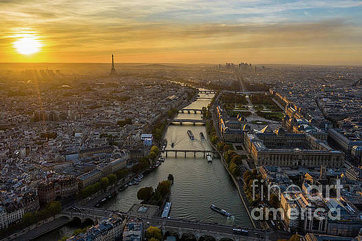 Aerial Sunset Along the Seine Paris by Mike Reid