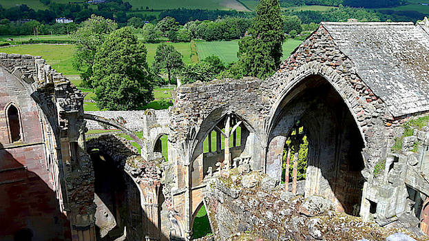 Aerial View, Melrose Abbey  by Chris Gill