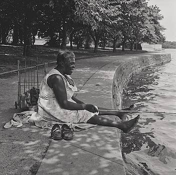African American Woman Fishing At The Tidal Basin, Washington D C  by Toni Frissell