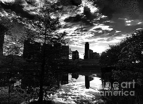 Felipe Adan Lerma - After a Spring Rain Austin Sunrise Skyline From Butler Park BlackWhite