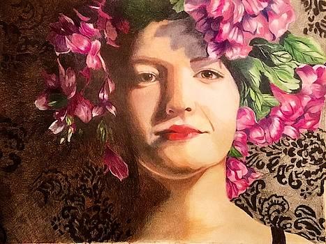 Ajia and flowers by Rhondda Saunders