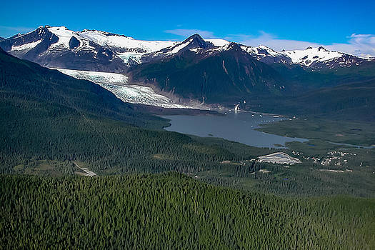 Alaskan Glacier Mountains and Lake in Glacier Bay National Park by G Matthew Laughton