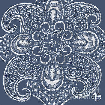 Amy E Fraser - Alien Bloom 17 Charcoal Blue