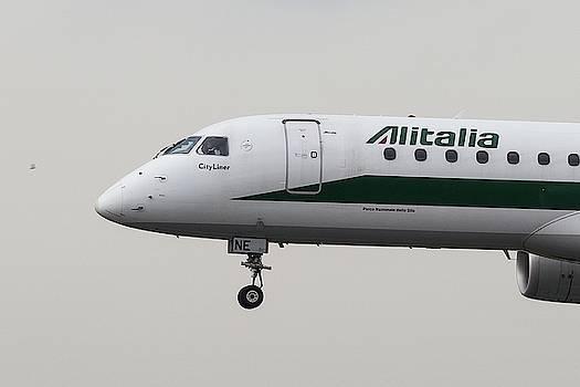 Alitalia Embraer 190 And Bird  by David Pyatt