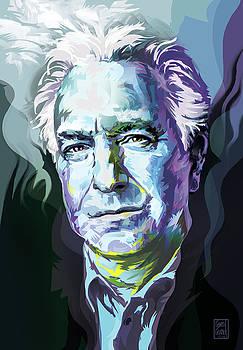Allan Rickman Portrait in Blue by Garth Glazier
