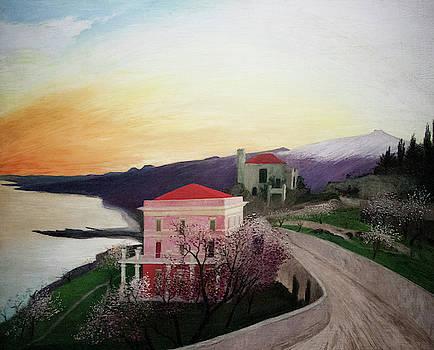 Almonds Blooming In Taormina by Tivador Kosztka Csontvary