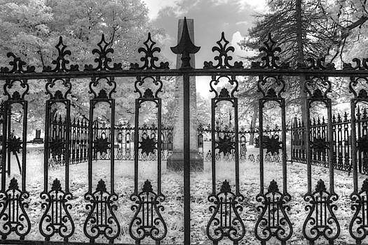 Alton Illinois cemetery gate wrought iron infrared by Jane Linders