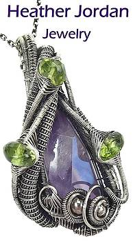 Amethyst Wire-Wrapped Pendant in Antiqued Sterling Silver with Peridot by Heather Jordan
