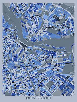 Amsterdam Map Retro 5 by Bekim M