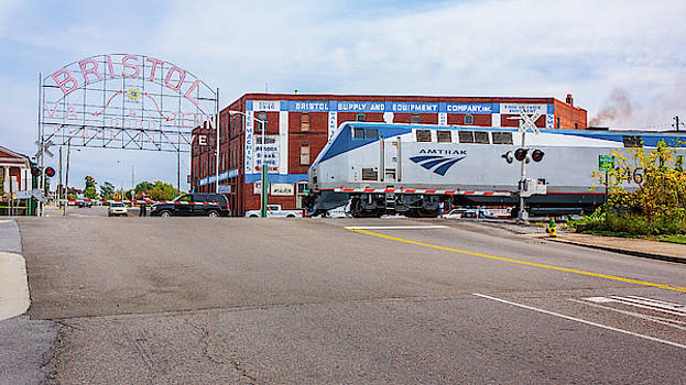 Amtrak and the Bristol Sign in Pink by Greg Booher