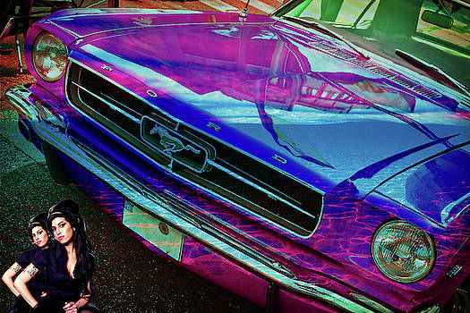 Amy Winehouse and Her Multi Colored 1965 Ford Mustang by Ben Stein
