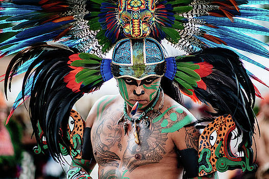 An Aztec dancer in San Cristobal, Chiapas, Mexico by Kamran Ali
