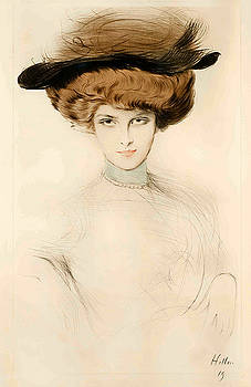 An Elegant Woman wearing a feathered hat by Paul Cesar Helleu